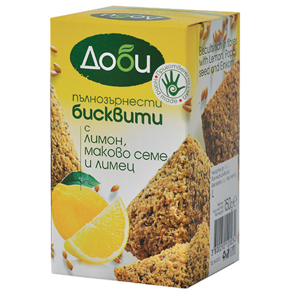 "Whole grain biscuits ""Dobi"" with lemon, poppy seed and spelled, 150g"