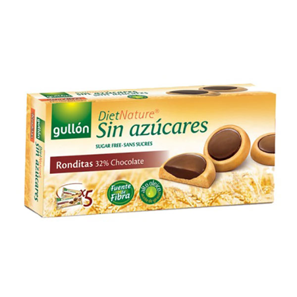 """Biscuits """"Ronditas"""" with dark chocolate without sugar Gullon 186g"""