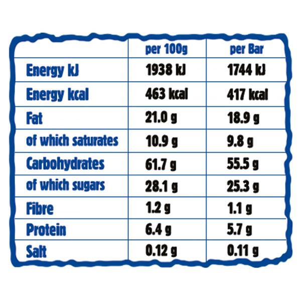 "Nutritionals chart oatmeal cake ""Ma Baker"", coconut, 90g"