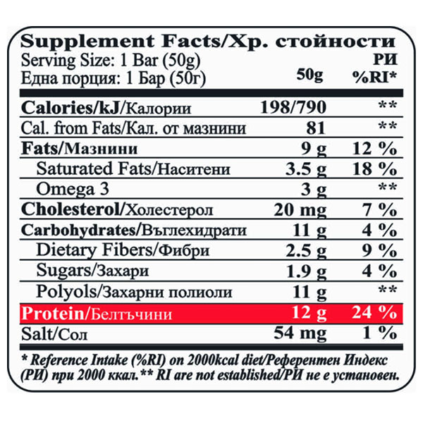 Nutrition-chart-protein-bar-double-chocolate-brownie