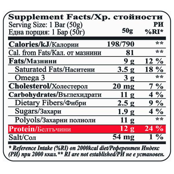 """Хранителна диаграма Протеинов бар, Двоен шоколад, """"Брауни"""", 50гр"""